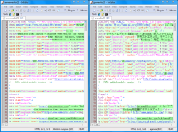 Comparing two documents in EmEditor Professional.