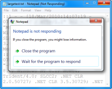 Notepad can't handle large files.